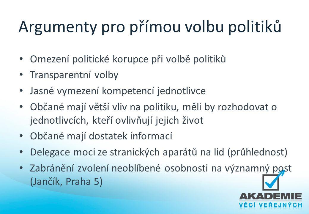 Argumenty pro přímou volbu politiků Omezení politické korupce při volbě politiků Transparentní volby Jasné vymezení kompetencí jednotlivce Občané mají