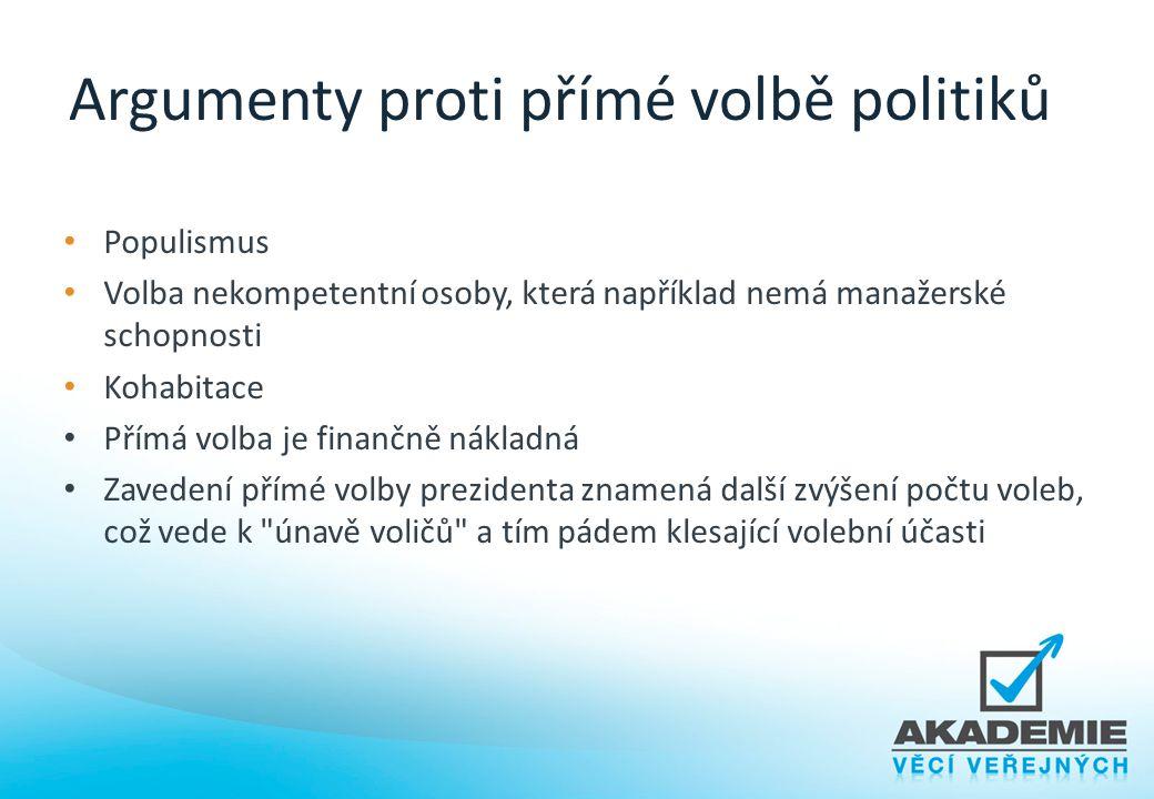 Argumenty proti přímé volbě politiků Populismus Volba nekompetentní osoby, která například nemá manažerské schopnosti Kohabitace Přímá volba je finanč