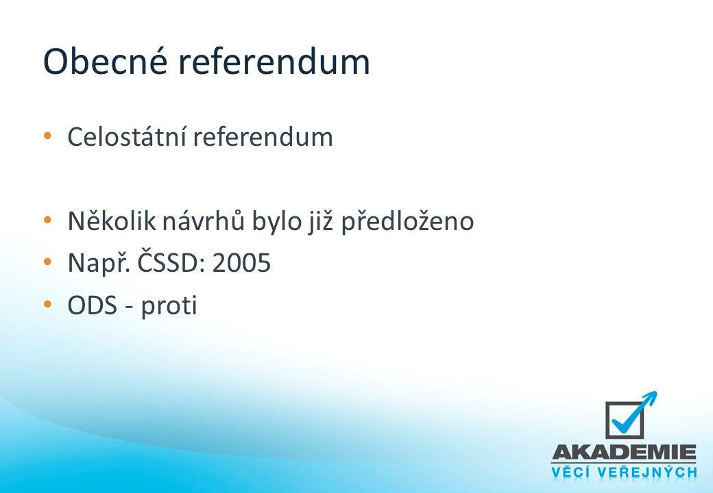 Obecné referendum Celostátní referendum Několik návrhů bylo již předloženo Např. ČSSD: 2005 ODS - proti