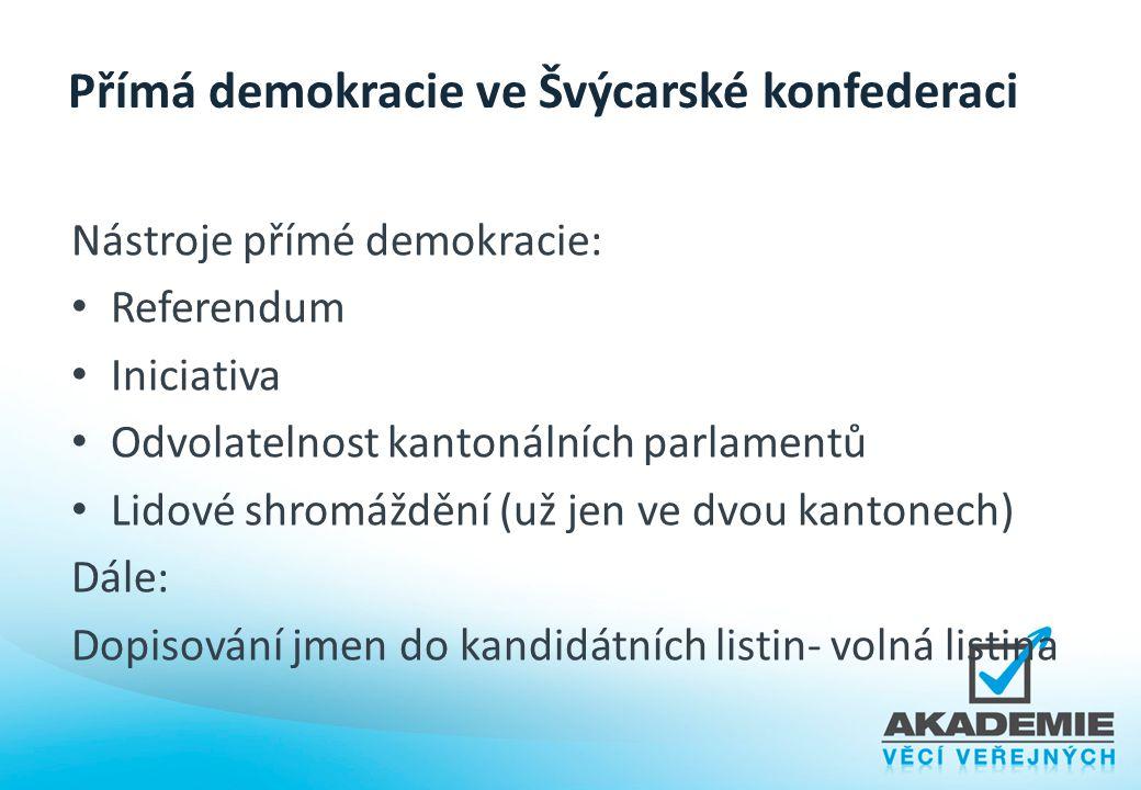 Přímá demokracie ve Švýcarské konfederaci Nástroje přímé demokracie: Referendum Iniciativa Odvolatelnost kantonálních parlamentů Lidové shromáždění (u