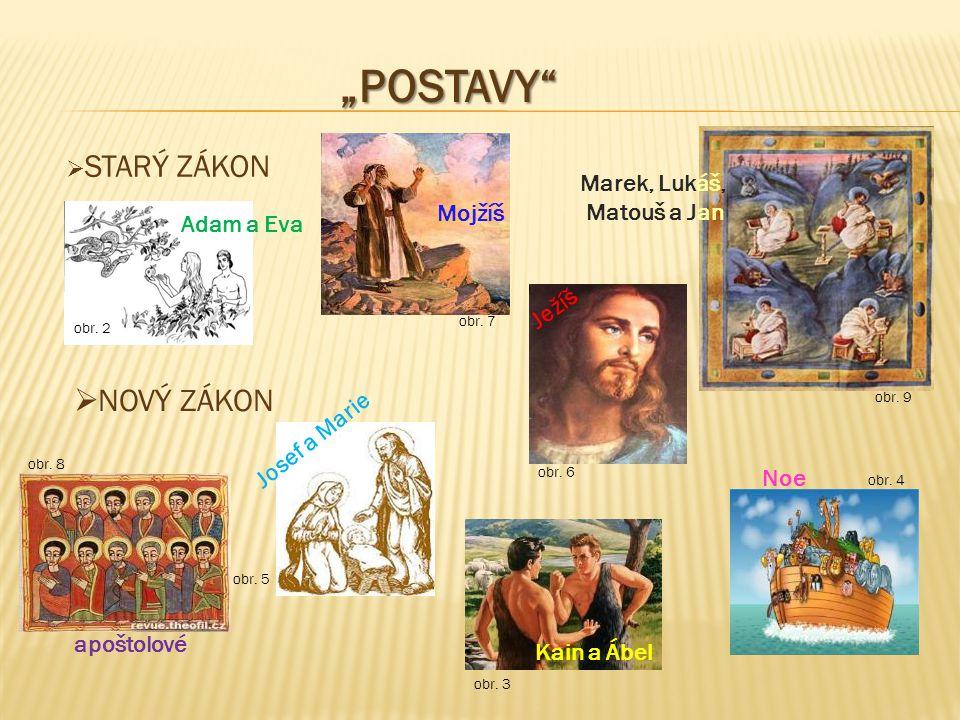 """""""POSTAVY""""  STARÝ ZÁKON  NOVÝ ZÁKON Adam a Eva obr. 2 obr. 3 Kain a Ábel obr. 4 Noe obr. 5 Josef a Marie obr. 6 Ježíš obr. 7 Mojžíš obr. 8 apoštolové"""