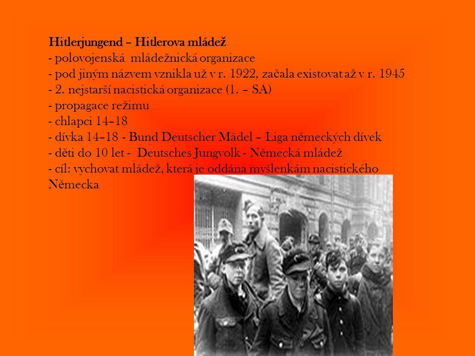 Hitlerjungend – Hitlerova mláde ž - polovojenská mláde ž nická organizace - pod jiným názvem vznikla u ž v r. 1922, za č ala existovat a ž v r. 1945 -