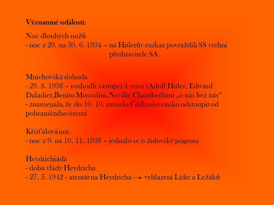 Významné události: Noc dlouhých no žů - noc z 29. na 30. 6. 1934 – na Hitler ů v rozkaz povra ž dili SS vrchní p ř edstavitele SA Mnichovská dohoda -