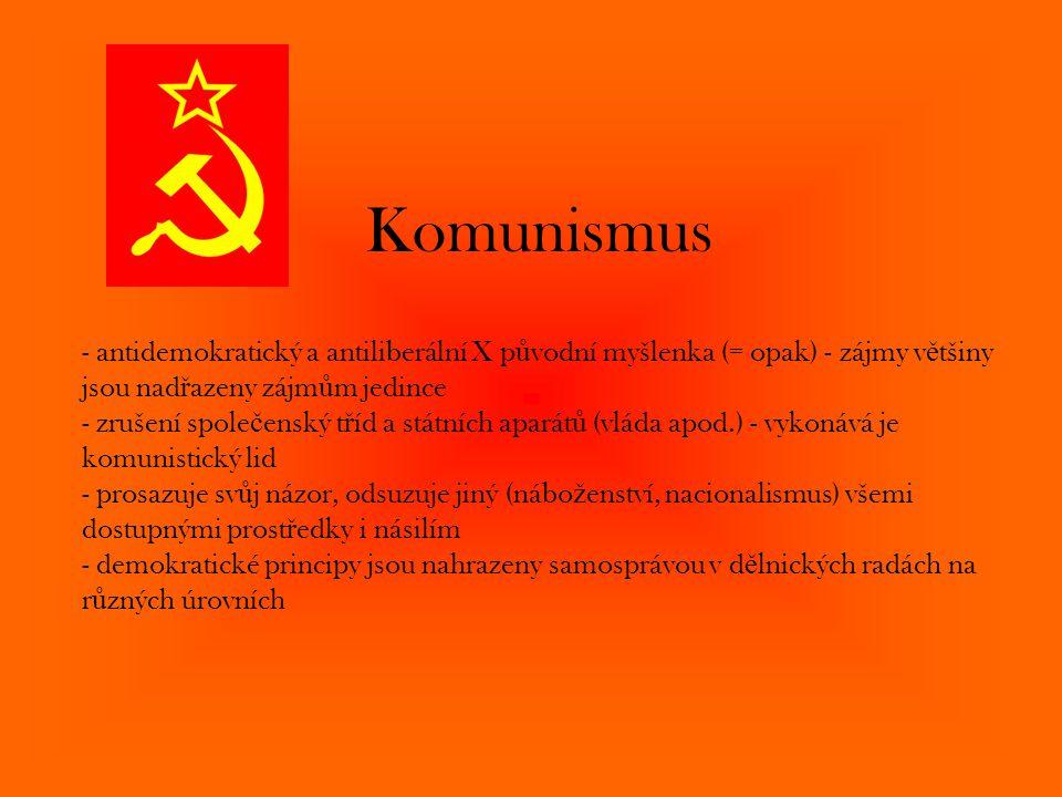 Komunismus - antidemokratický a antiliberální X p ů vodní myšlenka (= opak) - zájmy v ě tšiny jsou nad ř azeny zájm ů m jedince - zrušení spole č ensk