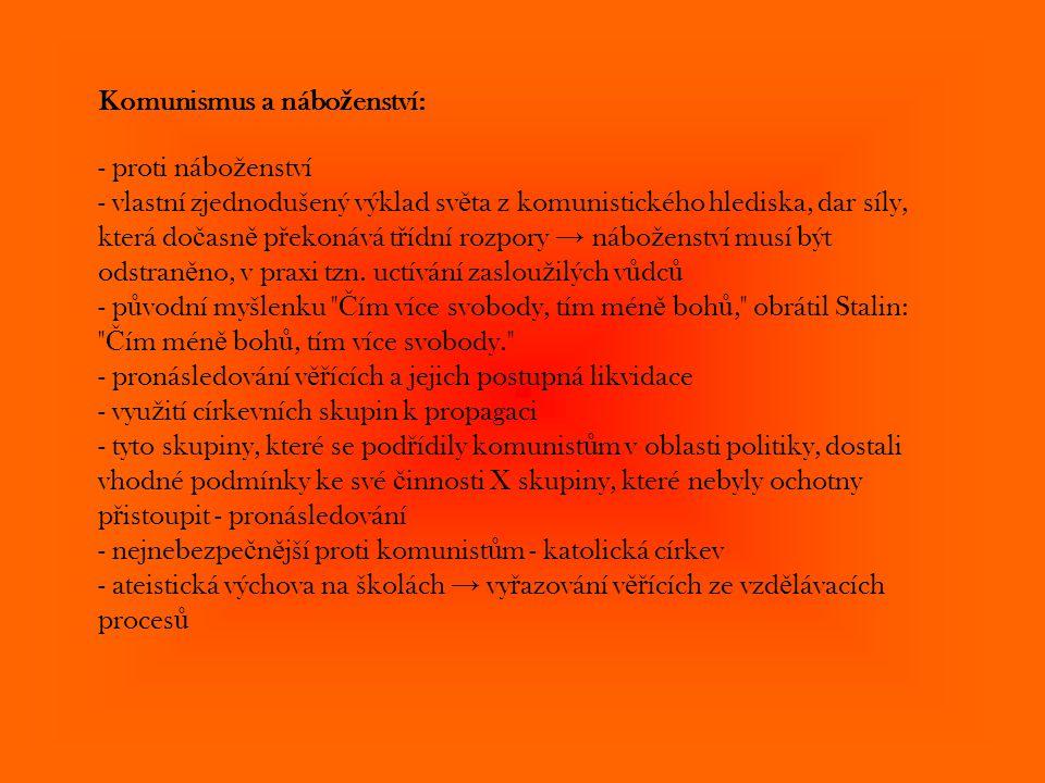 Komunismus a nábo ž enství: - proti nábo ž enství - vlastní zjednodušený výklad sv ě ta z komunistického hlediska, dar síly, která do č asn ě p ř ekon