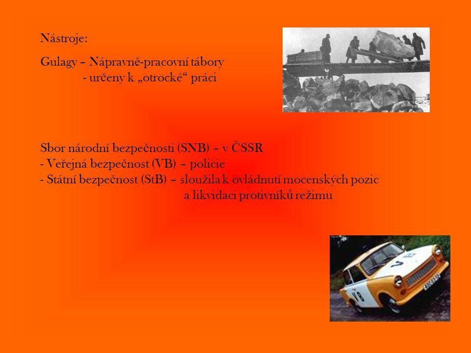 """Nástroje: Gulagy – Nápravn ě -pracovní tábory - ur č eny k """"otrocké"""" práci Sbor národní bezpe č nosti (SNB) – v Č SSR - Ve ř ejná bezpe č nost (VB) –"""