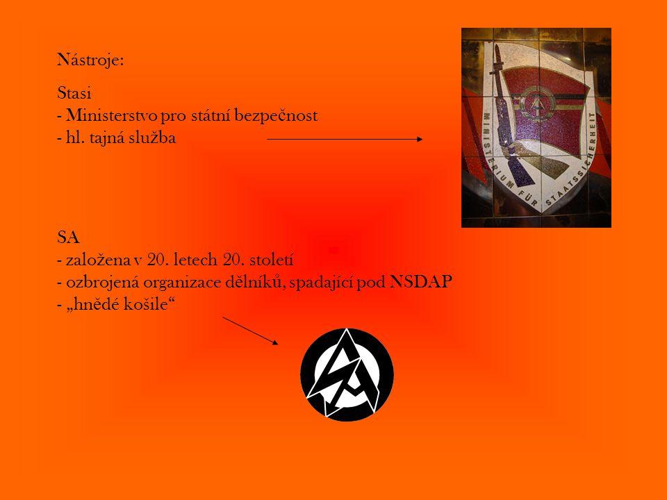 Nástroje: Stasi - Ministerstvo pro státní bezpe č nost - hl. tajná slu ž ba SA - zalo ž ena v 20. letech 20. století - ozbrojená organizace d ě lník ů