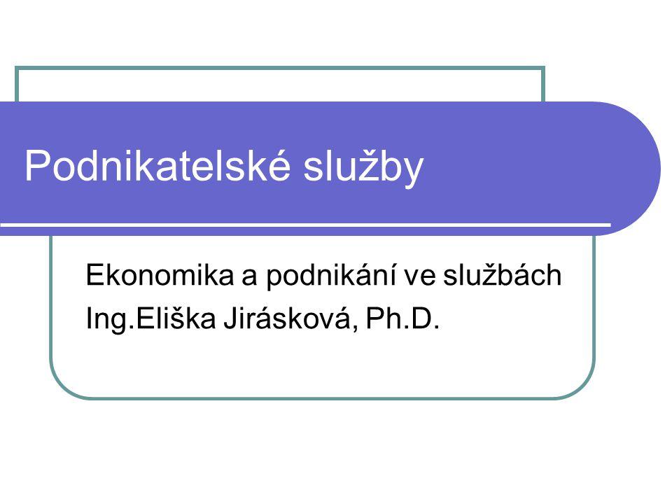 Podnikatelské služby Ekonomika a podnikání ve službách Ing.Eliška Jirásková, Ph.D.