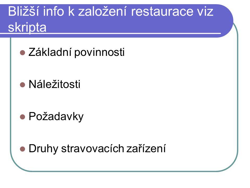 Bližší info k založení restaurace viz skripta Základní povinnosti Náležitosti Požadavky Druhy stravovacích zařízení