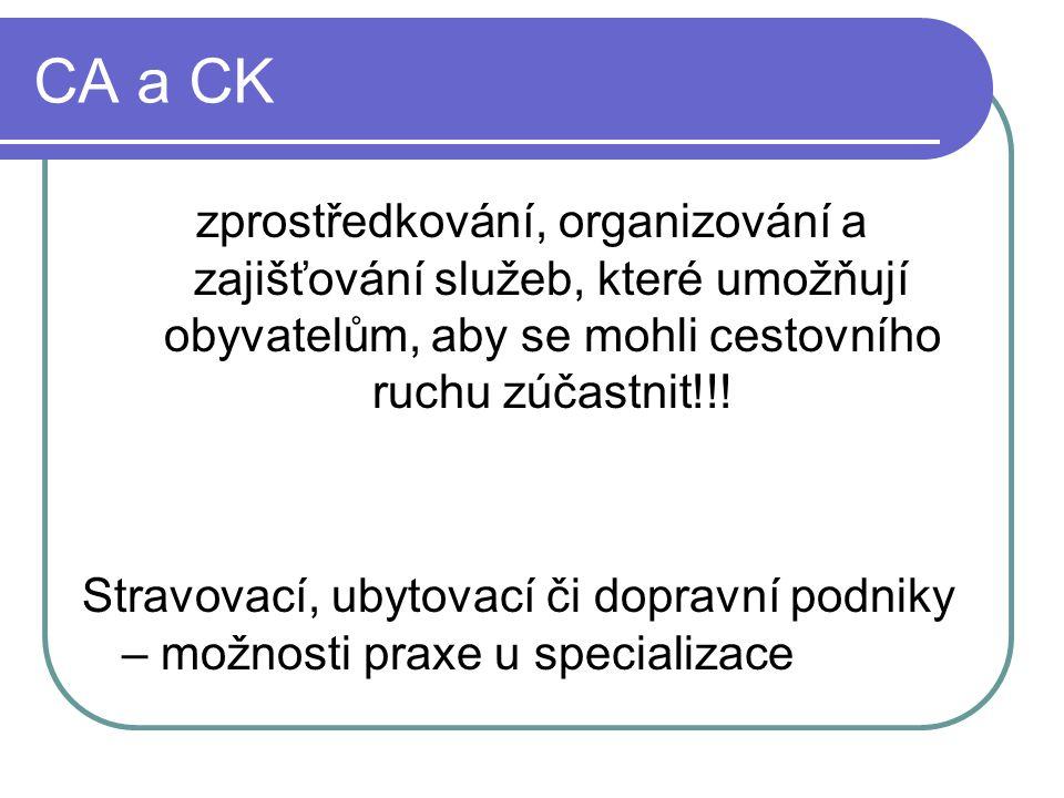 CA a CK zprostředkování, organizování a zajišťování služeb, které umožňují obyvatelům, aby se mohli cestovního ruchu zúčastnit!!.