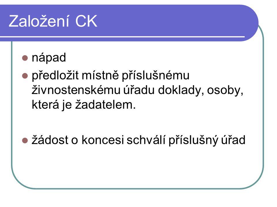 Založení CK nápad předložit místně příslušnému živnostenskému úřadu doklady, osoby, která je žadatelem.