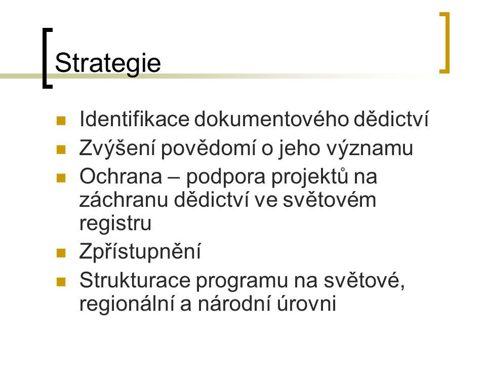 Strategie Identifikace dokumentového dědictví Zvýšení povědomí o jeho významu Ochrana – podpora projektů na záchranu dědictví ve světovém registru Zpřístupnění Strukturace programu na světové, regionální a národní úrovni