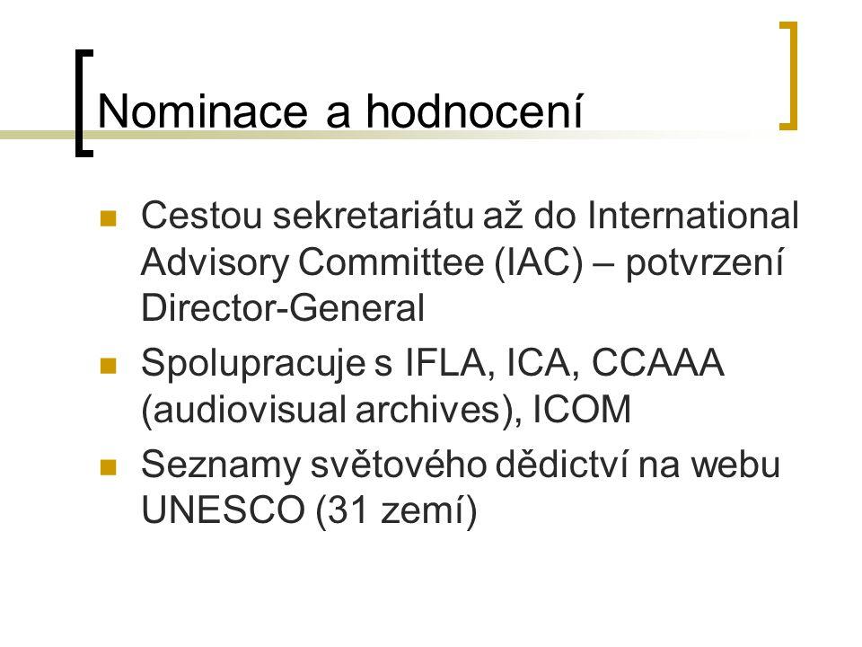 Nominace a hodnocení Cestou sekretariátu až do International Advisory Committee (IAC) – potvrzení Director-General Spolupracuje s IFLA, ICA, CCAAA (audiovisual archives), ICOM Seznamy světového dědictví na webu UNESCO (31 zemí)