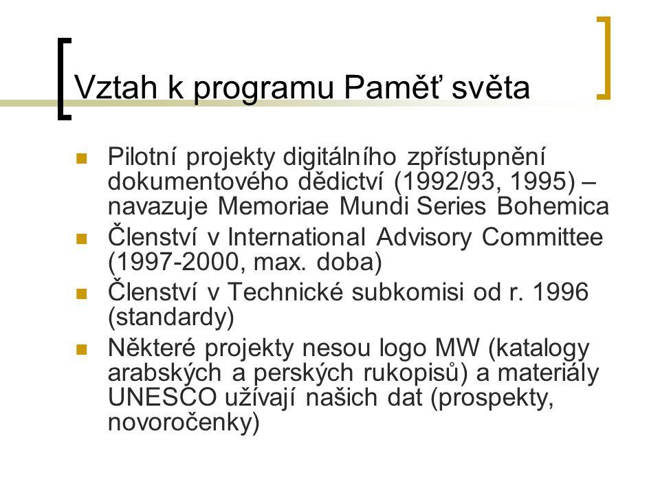 Vztah k programu Paměť světa Pilotní projekty digitálního zpřístupnění dokumentového dědictví (1992/93, 1995) – navazuje Memoriae Mundi Series Bohemica Členství v International Advisory Committee (1997-2000, max.