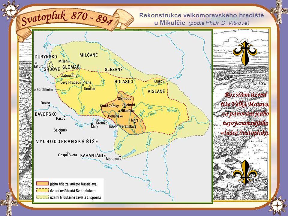 Svatopluk mocenskou expanzí a civilizačním úsilím způsobeným cyrilometodějskou misií, podstatně rozšířil území Velké Moravy.