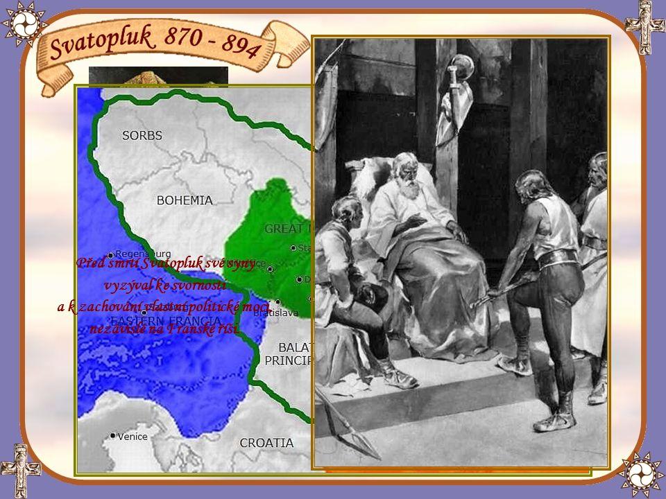 Vnější zelená linie vykresluje hranice Velkomoravské říše ke konci vlády knížete Svatopluka - rok 894