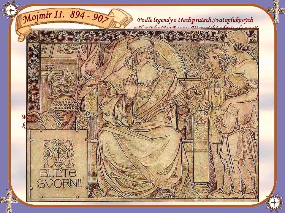 Svatopluk a jeho tři synové v legendě o svazku tří prutů (sgraffito Jano Köhler)