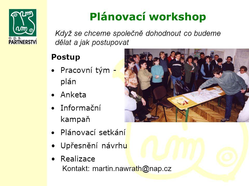 Plánovací workshop Postup Pracovní tým - plán Anketa Informační kampaň Plánovací setkání Upřesnění návrhu Realizace Kontakt: martin.nawrath@nap.cz