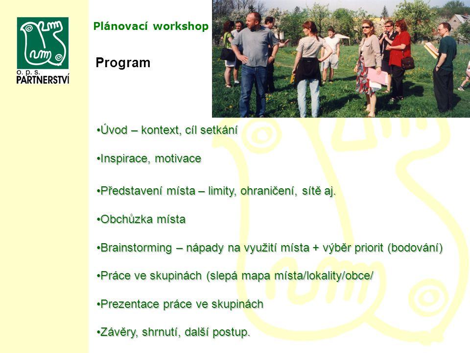 Plánovací workshop Program Úvod – kontext, cíl setkáníÚvod – kontext, cíl setkání Inspirace, motivaceInspirace, motivace Představení místa – limity, o