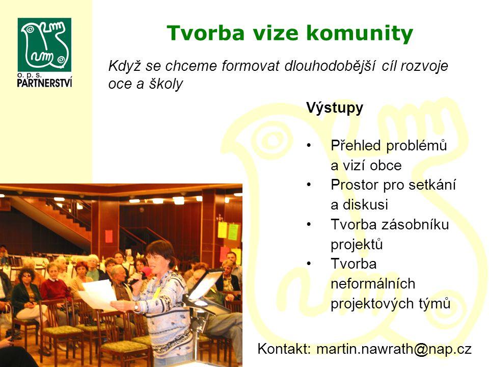 Tvorba vize komunity Výstupy Přehled problémů a vizí obce Prostor pro setkání a diskusi Tvorba zásobníku projektů Tvorba neformálních projektových tým