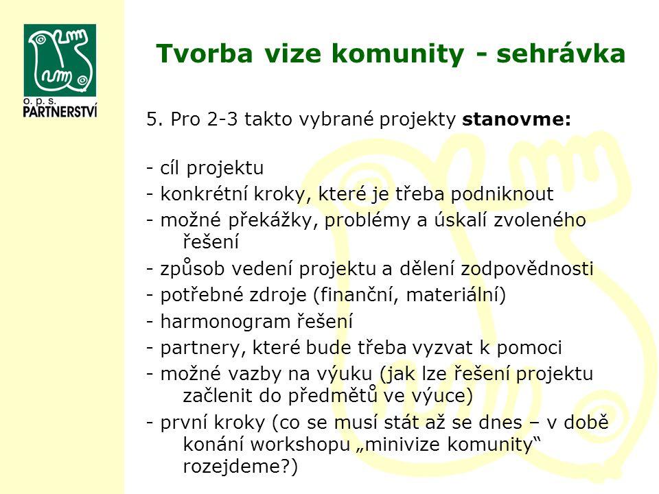 Tvorba vize komunity - sehrávka 5. Pro 2-3 takto vybrané projekty stanovme: - cíl projektu - konkrétní kroky, které je třeba podniknout - možné překáž