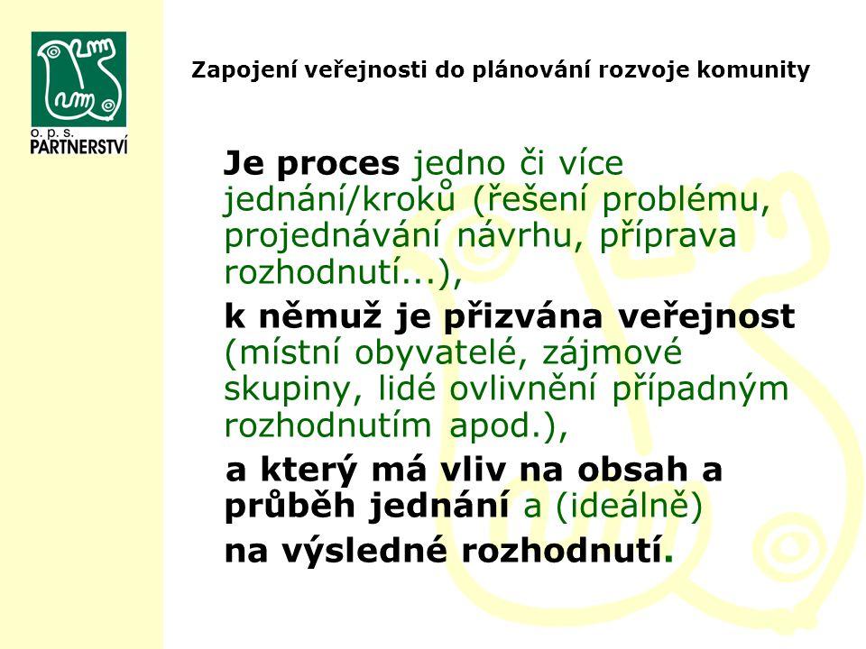 Zapojení veřejnosti do plánování rozvoje komunity Je proces jedno či více jednání/kroků (řešení problému, projednávání návrhu, příprava rozhodnutí...)