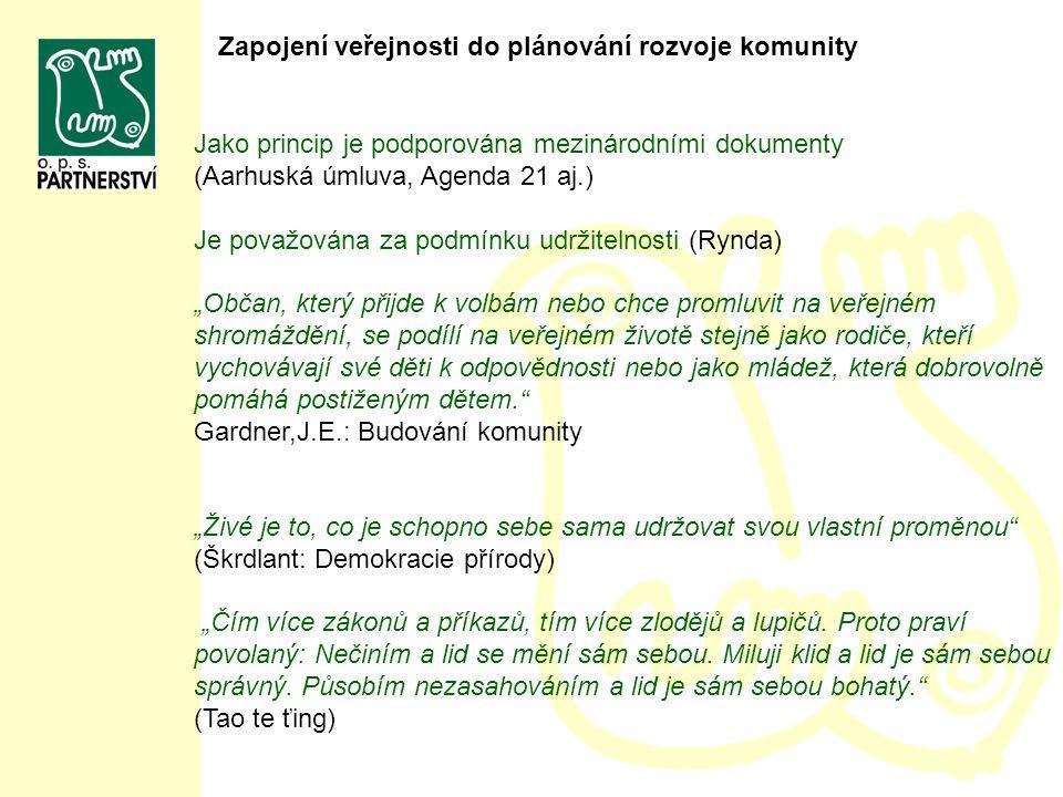 """Jako princip je podporována mezinárodními dokumenty (Aarhuská úmluva, Agenda 21 aj.) Je považována za podmínku udržitelnosti (Rynda) """"Občan, který při"""