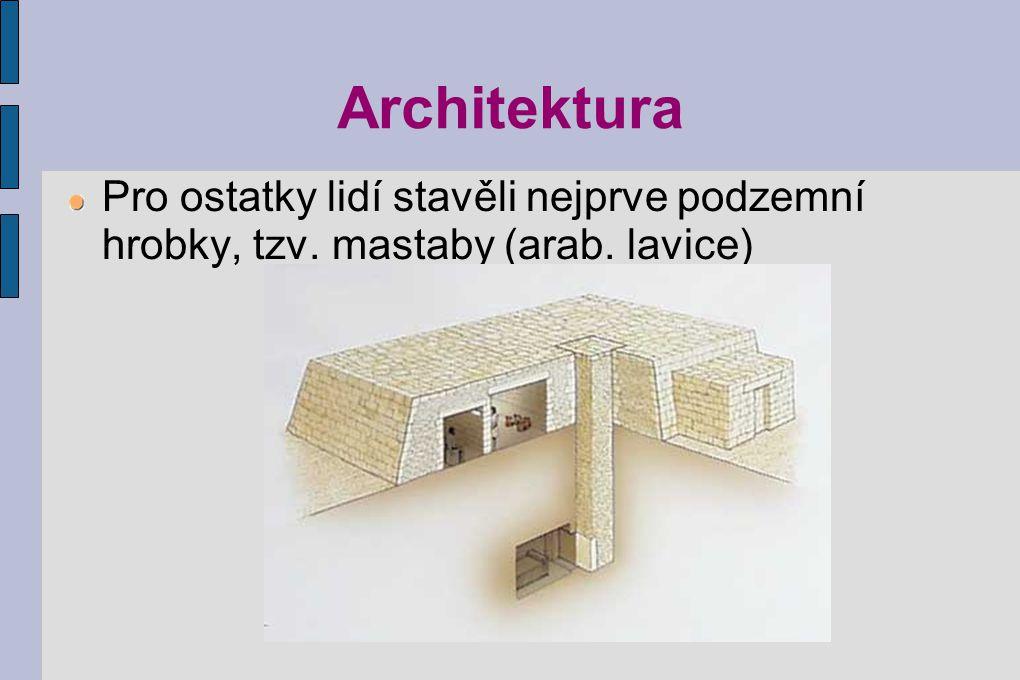 Architektura Pro ostatky lidí stavěli nejprve podzemní hrobky, tzv. mastaby (arab. lavice)