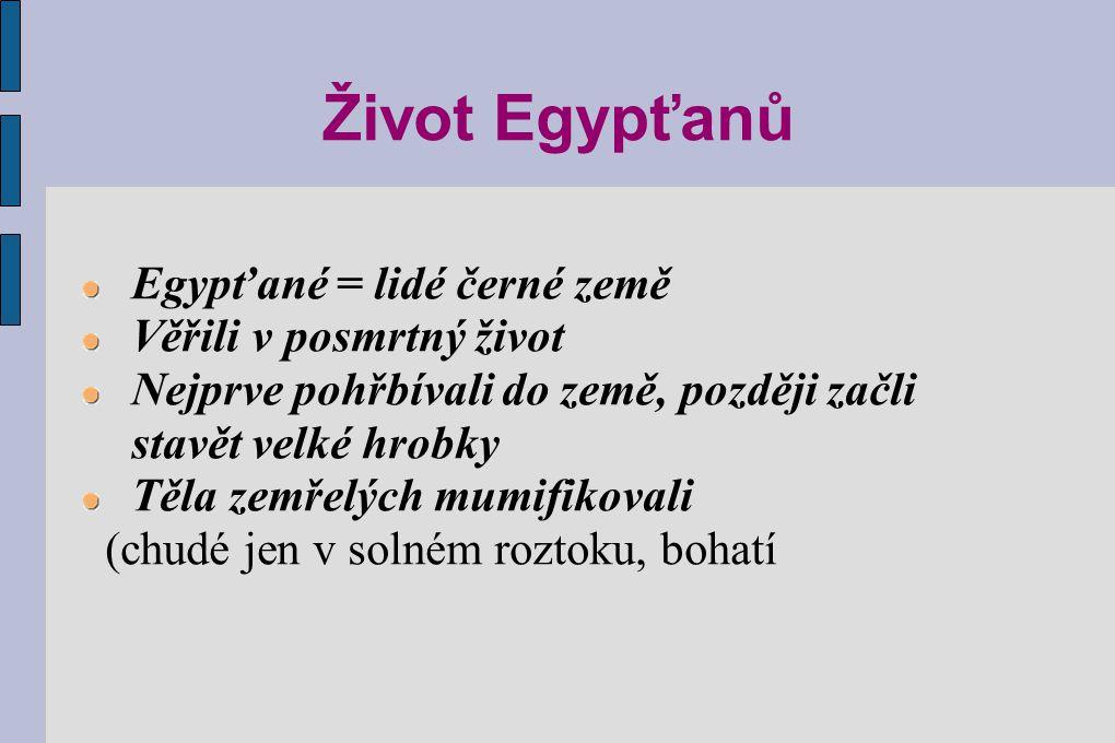 Život Egypťanů Egypťané = lidé černé země Věřili v posmrtný život Nejprve pohřbívali do země, později začli stavět velké hrobky Těla zemřelých mumifik