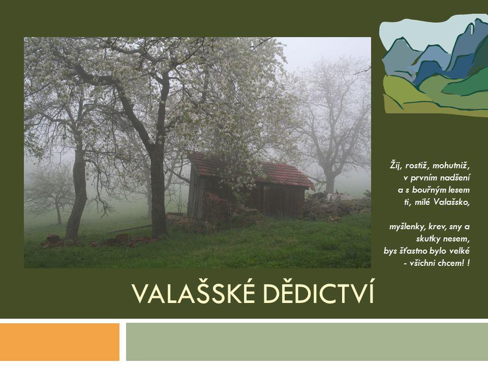 VALAŠSKÉ DĚDICTVÍ Žij, rostiž, mohutniž, v prvním nadšení a s bouřným lesem ti, milé Valašsko, myšlenky, krev, sny a skutky nesem, bys šťastno bylo ve