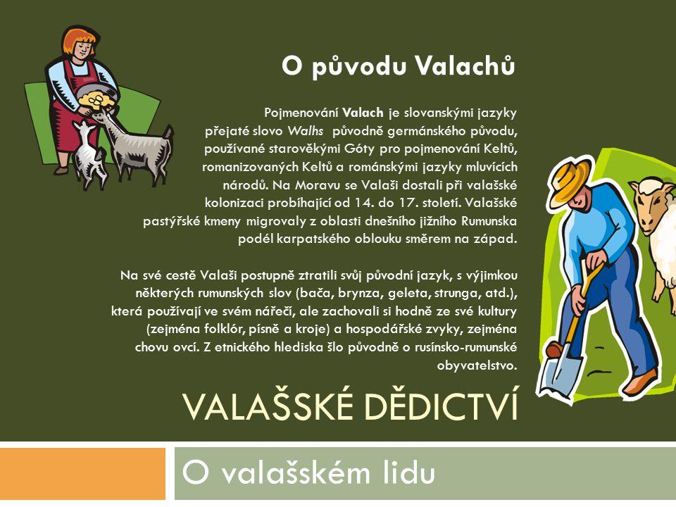VALAŠSKÉ DĚDICTVÍ Pojmenování Valach je slovanskými jazyky přejaté slovo Walhs původně germánského původu, používané starověkými Góty pro pojmenování