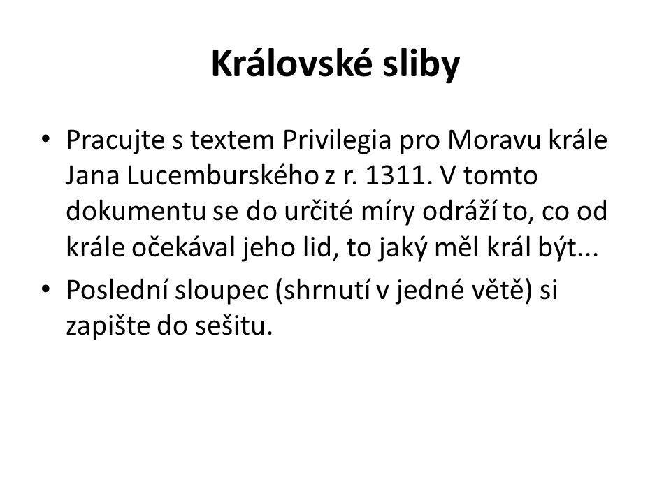 Královské sliby Pracujte s textem Privilegia pro Moravu krále Jana Lucemburského z r. 1311. V tomto dokumentu se do určité míry odráží to, co od krále