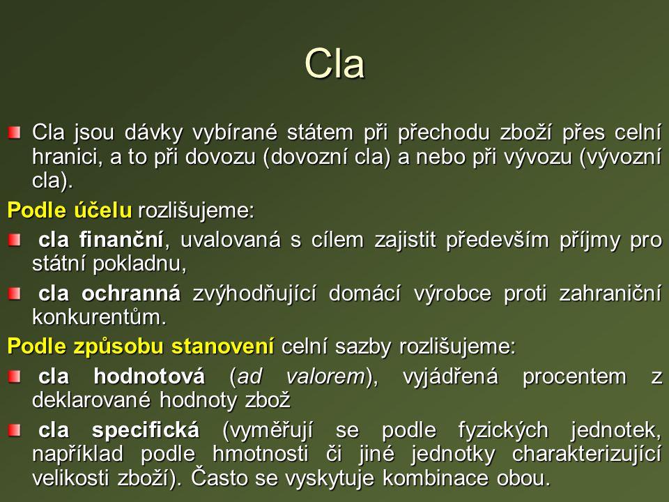 Cla Cla jsou dávky vybírané státem při přechodu zboží přes celní hranici, a to při dovozu (dovozní cla) a nebo při vývozu (vývozní cla). Podle účelu r