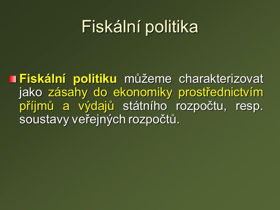 Nástroje fiskální politiky Nástroje FP slouží k ovlivňování ekonomického vývoje země.