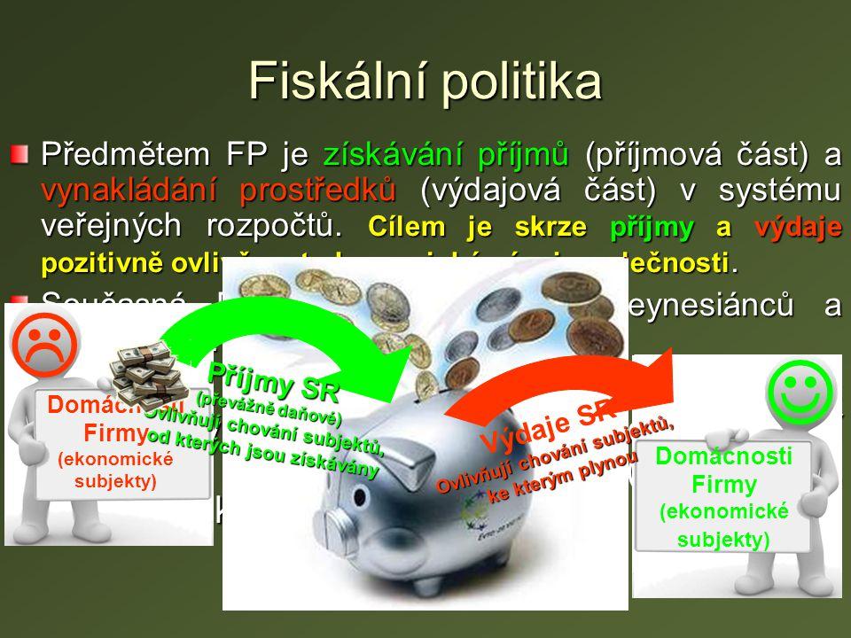Fiskální politika Předmětem FP je získávání příjmů (příjmová část) a vynakládání prostředků (výdajová část) v systému veřejných rozpočtů. Cílem je skr