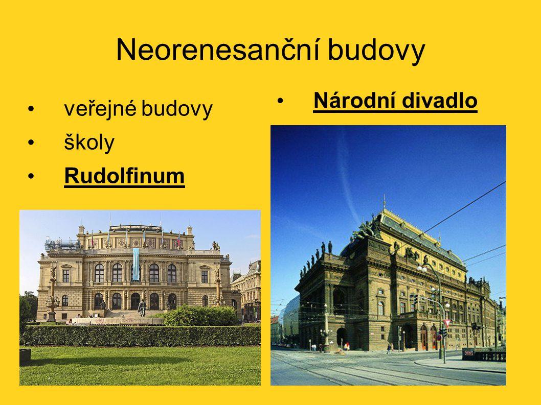 Neorenesanční budovy veřejné budovy školy Rudolfinum Národní divadlo