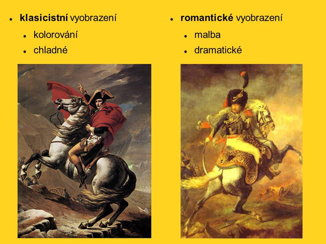 klasicistní vyobrazení kolorování chladné romantické vyobrazení malba dramatické