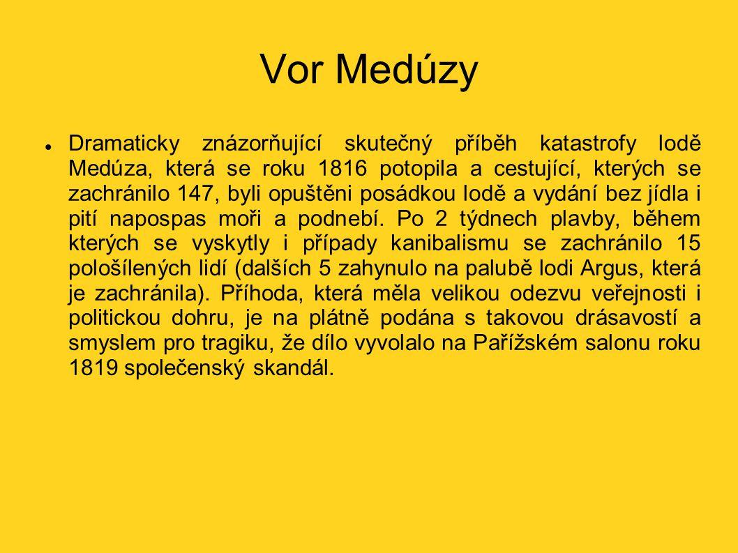 Vor Medúzy Dramaticky znázorňující skutečný příběh katastrofy lodě Medúza, která se roku 1816 potopila a cestující, kterých se zachránilo 147, byli op