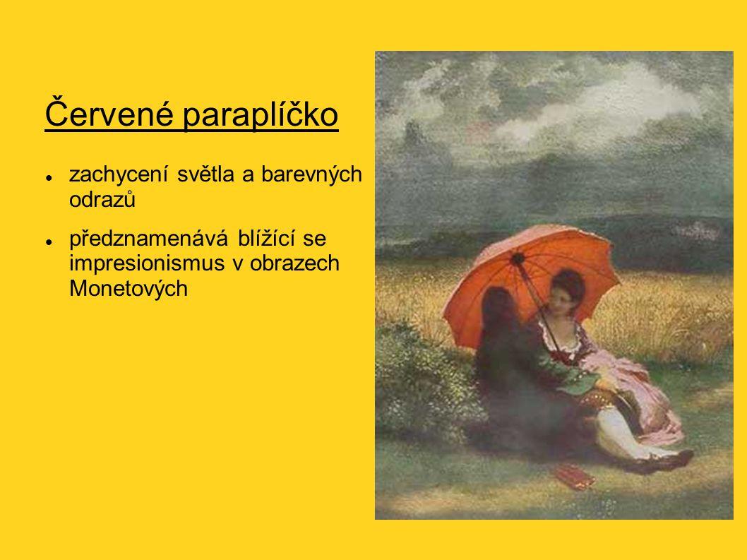 Červené paraplíčko zachycení světla a barevných odrazů předznamenává blížící se impresionismus v obrazech Monetových