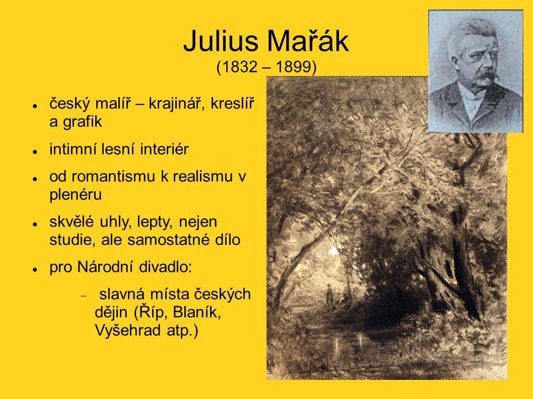 Julius Mařák (1832 – 1899) český malíř – krajinář, kreslíř a grafik intimní lesní interiér od romantismu k realismu v plenéru skvělé uhly, lepty, neje