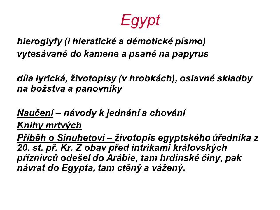 Egypt hieroglyfy (i hieratické a démotické písmo) vytesávané do kamene a psané na papyrus díla lyrická, životopisy (v hrobkách), oslavné skladby na bo