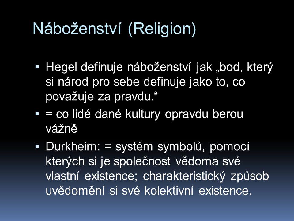 """Náboženství (Religion)  Hegel definuje náboženství jak """"bod, který si národ pro sebe definuje jako to, co považuje za pravdu.  = co lidé dané kultury opravdu berou vážně  Durkheim: = systém symbolů, pomocí kterých si je společnost vědoma své vlastní existence; charakteristický způsob uvědomění si své kolektivní existence."""