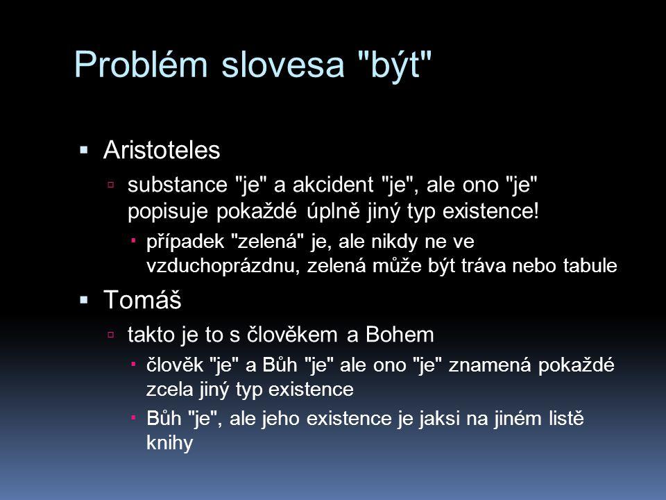 Problém slovesa být  Aristoteles  substance je a akcident je , ale ono je popisuje pokaždé úplně jiný typ existence.