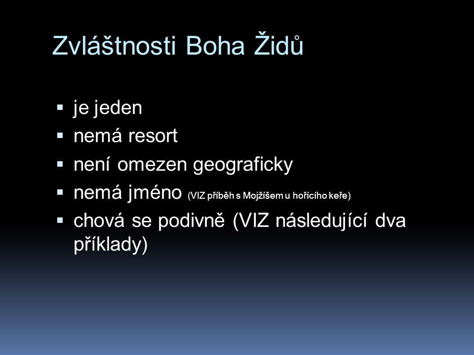 Zvláštnosti Boha Židů  je jeden  nemá resort  není omezen geograficky  nemá jméno (VIZ příběh s Mojžíšem u hořícího keře)  chová se podivně (VIZ následující dva příklady)