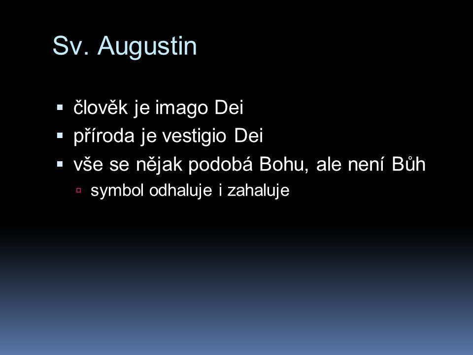 Sv. Augustin  člověk je imago Dei  příroda je vestigio Dei  vše se nějak podobá Bohu, ale není Bůh  symbol odhaluje i zahaluje