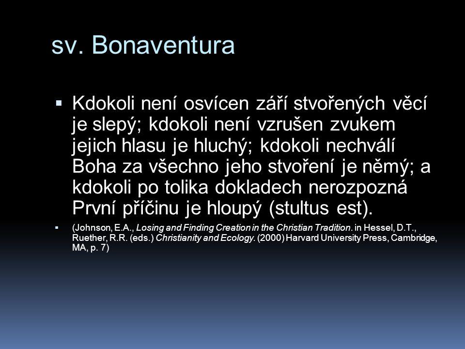sv. Bonaventura  Kdokoli není osvícen září stvořených věcí je slepý; kdokoli není vzrušen zvukem jejich hlasu je hluchý; kdokoli nechválí Boha za vše