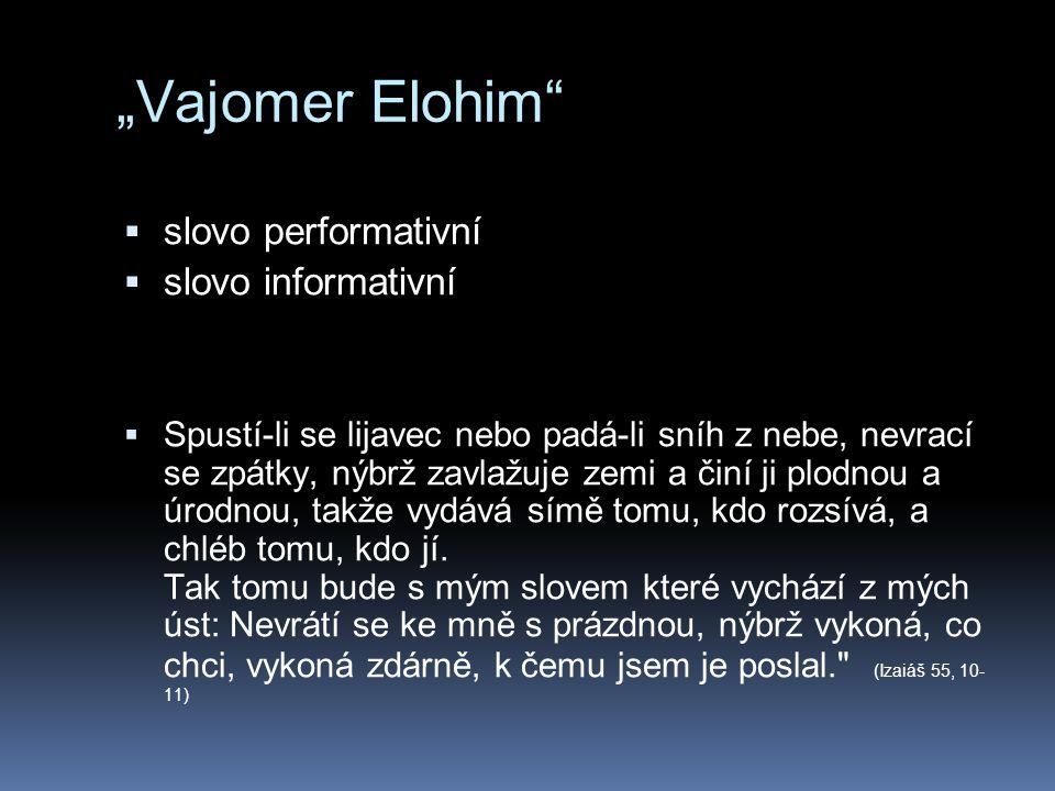 """""""Vajomer Elohim""""  slovo performativní  slovo informativní  Spustí-li se lijavec nebo padá-li sníh z nebe, nevrací se zpátky, nýbrž zavlažuje zemi a"""