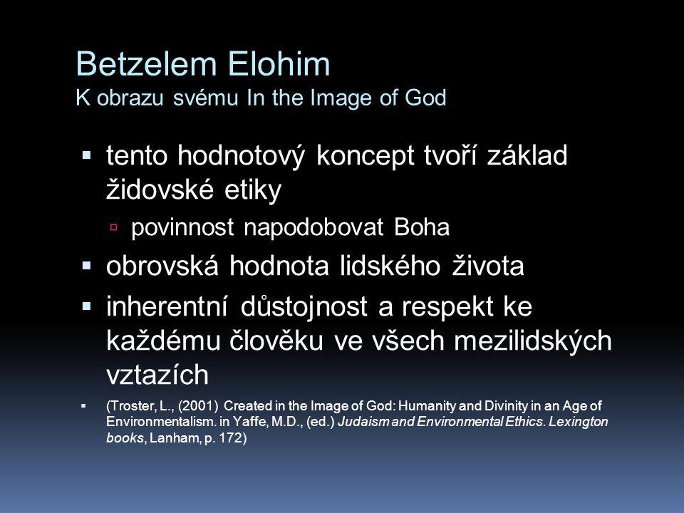 Betzelem Elohim K obrazu svému In the Image of God  tento hodnotový koncept tvoří základ židovské etiky  povinnost napodobovat Boha  obrovská hodnota lidského života  inherentní důstojnost a respekt ke každému člověku ve všech mezilidských vztazích  (Troster, L., (2001) Created in the Image of God: Humanity and Divinity in an Age of Environmentalism.