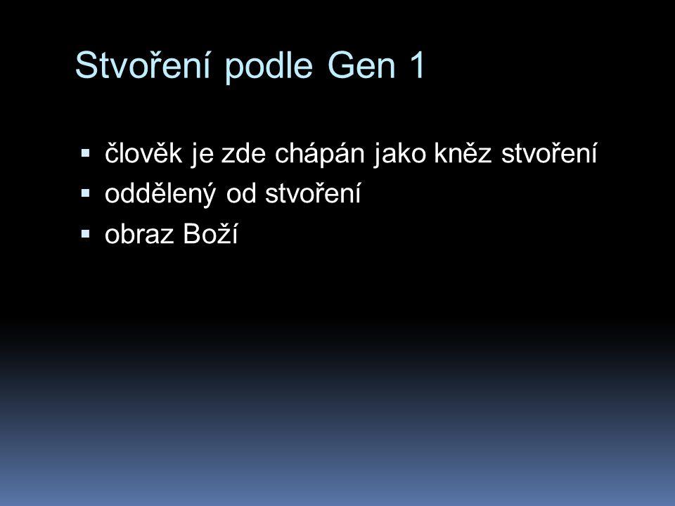 Stvoření podle Gen 1  člověk je zde chápán jako kněz stvoření  oddělený od stvoření  obraz Boží