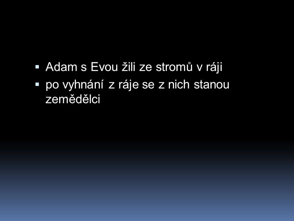  Adam s Evou žili ze stromů v ráji  po vyhnání z ráje se z nich stanou zemědělci